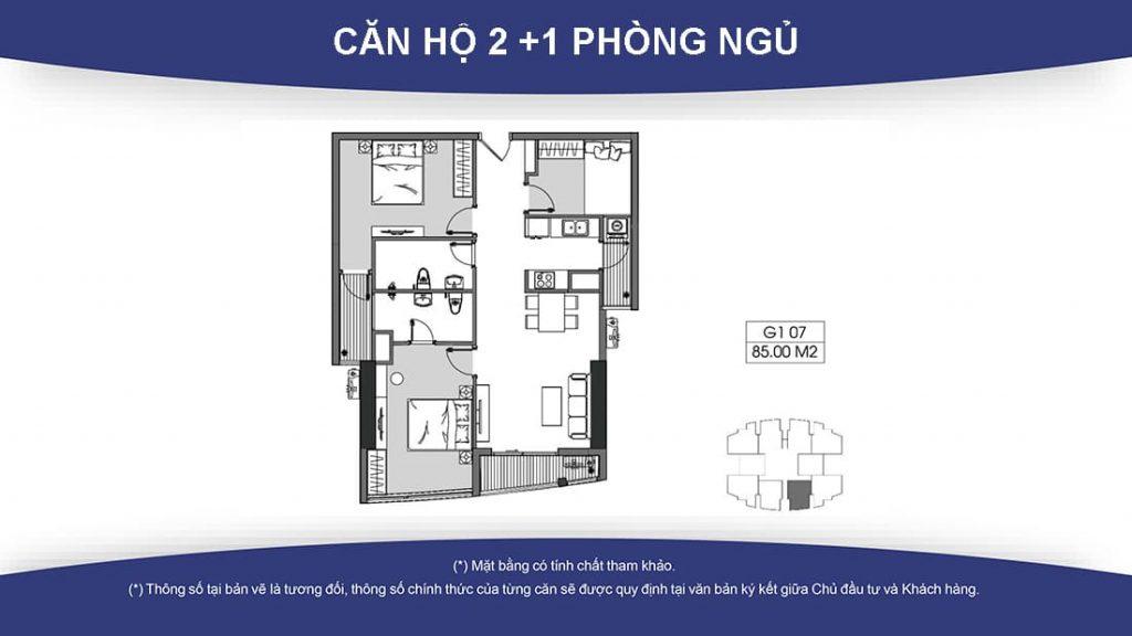 Thiet ke can ho 2+1 phong ngu du an chung cu Le Grand Jardin No15 No16 Sai Dong BRG Group