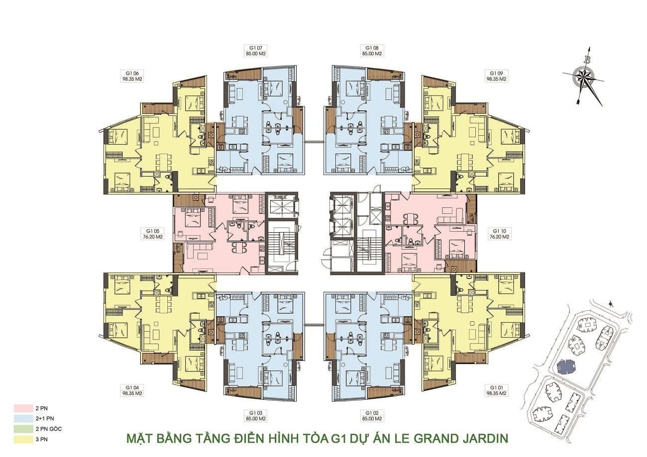 mặt bằng tòa G1 dự án chung cư le grand jardin no15 no16 sài đồng BRG Group