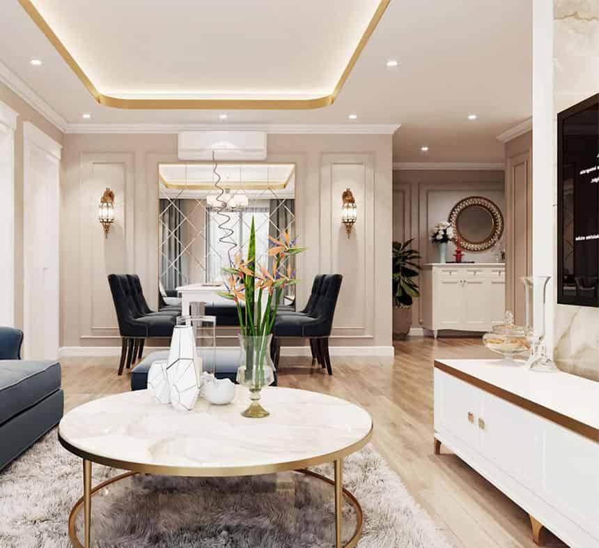 thiết kế căn góc 2 phòng ngủ chung cư Le Grand Jardin no15 no16 Sài Đồng BRG Group