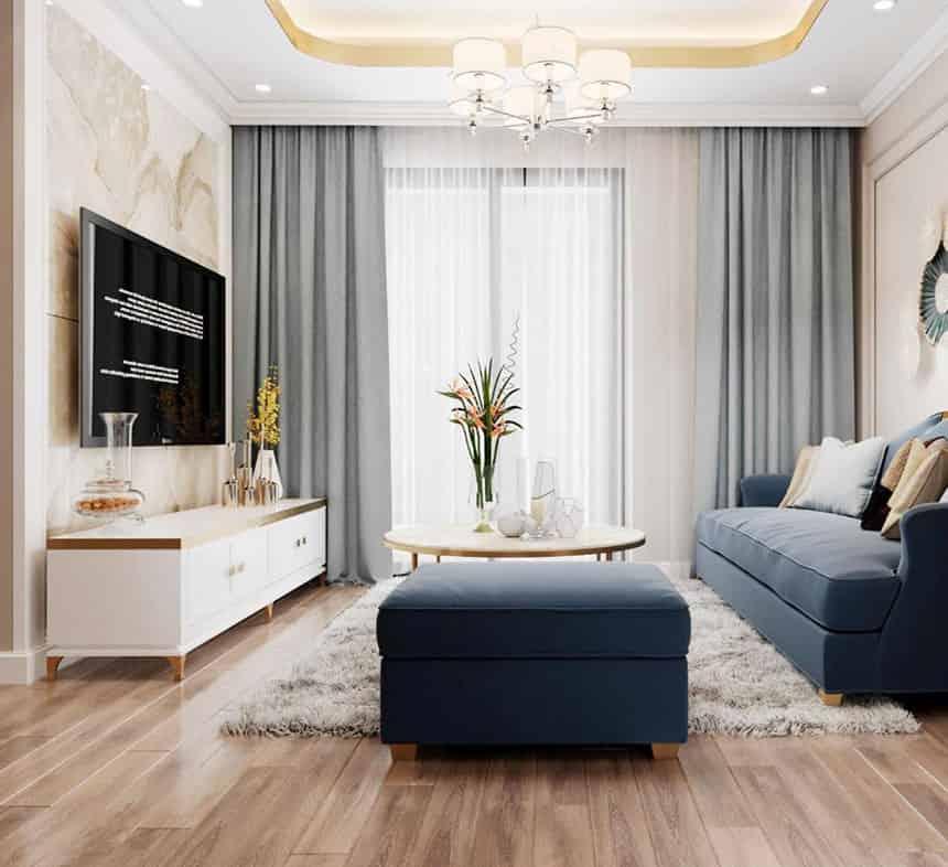 thiết kế căn hộ 2 phòng ngủ +1 chung cư Le Grand Jardin no15 no16 Sài Đồng BRG Group