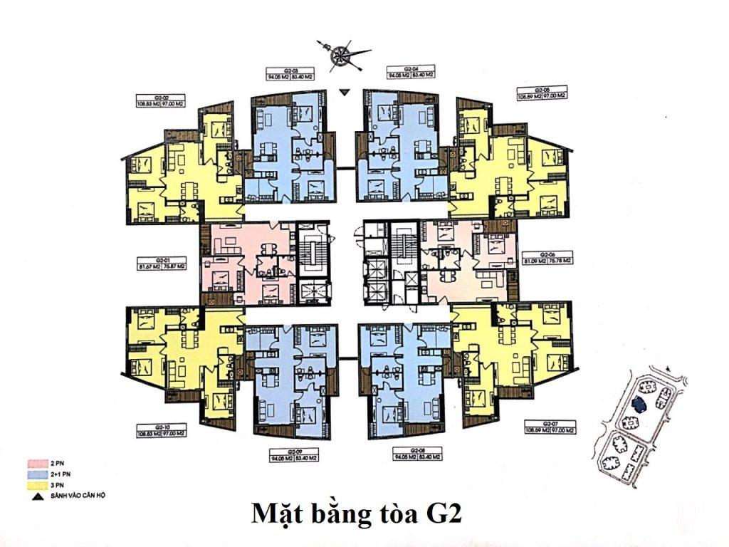 Mặt bằng tòa G2 Chung cư Le Grand Jardin Sài Đồng