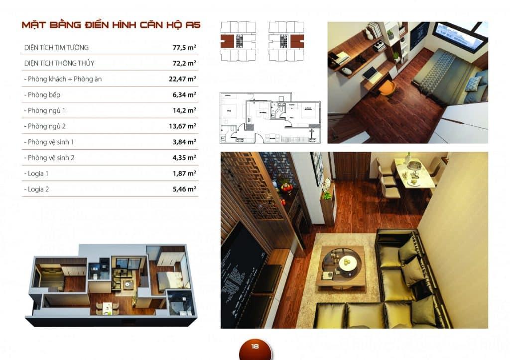 Thiết kế căn hộ 2 phòng ngủ dự án Hc Golden City