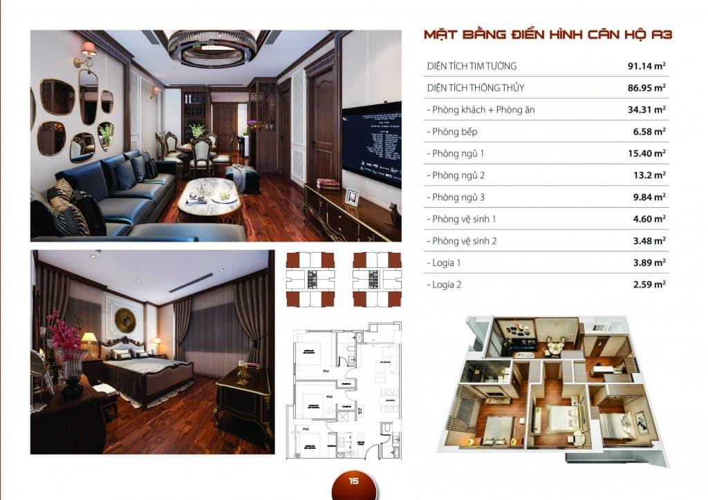 Thiết kế căn hộ 3 phòng ngủ mẫu A3 dự án Hc Golden City