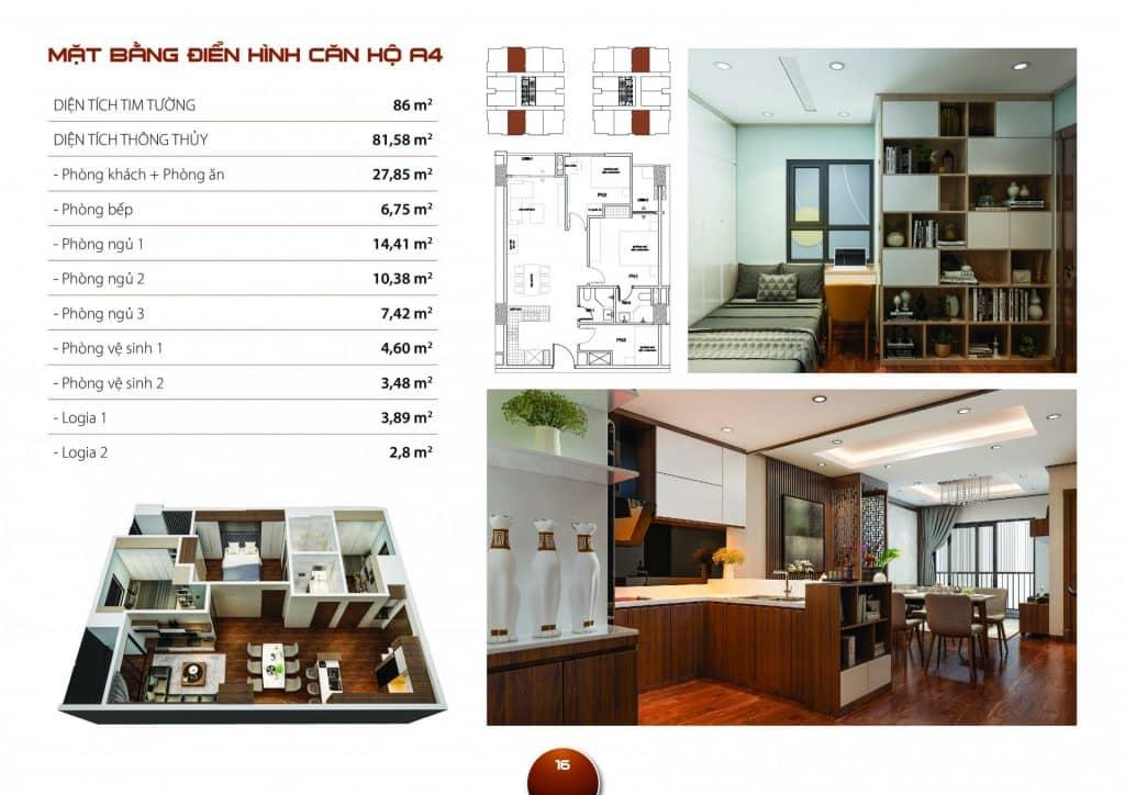 Thiết kế căn hộ 3 phòng ngủ mẫu A4 dự án Hc Golden City