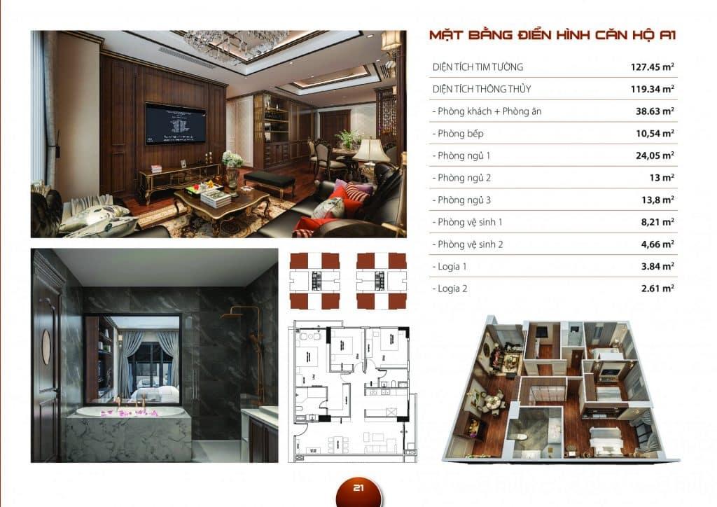 Thiết kế căn hộ 3 phòng ngủ mẫu A1 dự án Hc Golden City