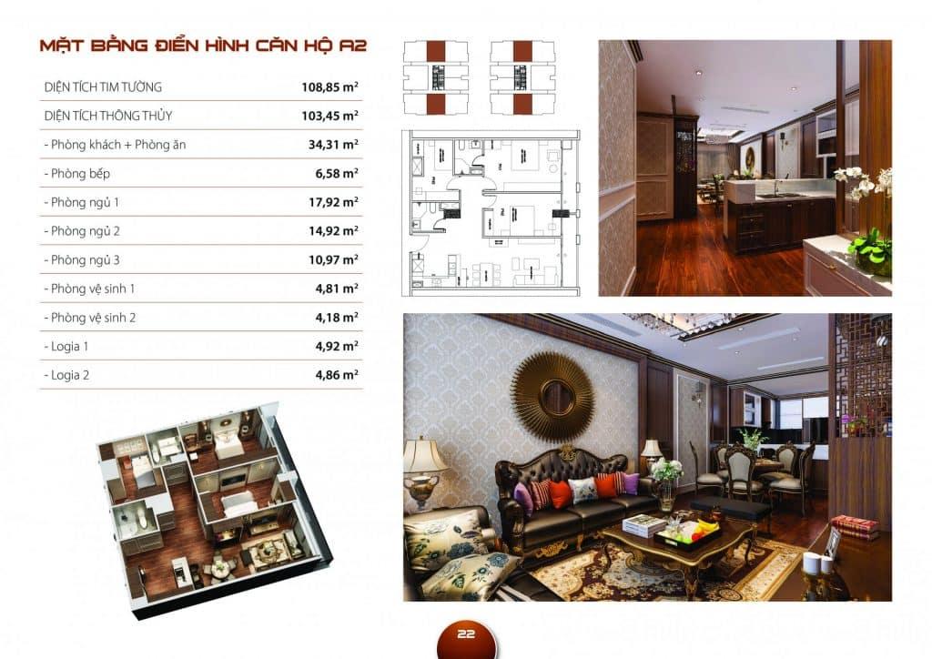 Thiết kế căn hộ 3 phòng ngủ mẫu A2 dự án Hc Golden City
