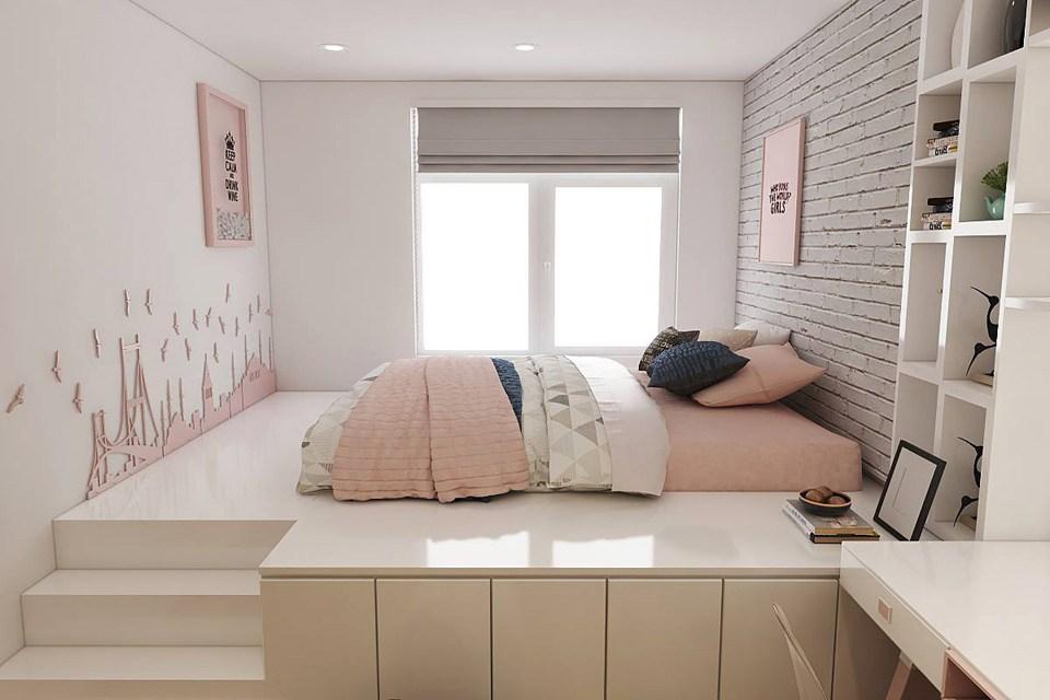 Mẫu giường ngủ dạng bục